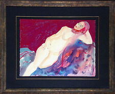 Mel Carter Original Watercolor Painting On Paper, reclining nude figure, OBO!