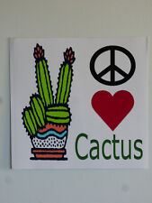"Peace Love Cactus Succulent Bumper Sticker Window Decal NEW 4""x4"" UV Resistant"