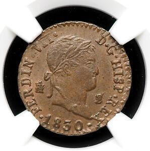 SPAIN. Ferdinand VII, 2 Maravedis, 1830, Segovia, NGC MS63 BN