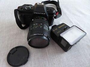Pentax P30n Camera 28-80 Pentax Zoom Lens and Miranda Flash Gun