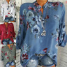 Women's Long Sleeve Casual V Neck Tops Blouse Summer Loose Floral Tee T Shirt
