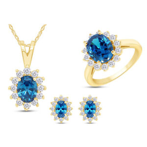 Topaz & White Sapphire Pendant, Ring & Earrings Set 14K Gold Over Sterling 18""