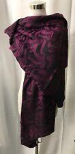 "Graf Paris Silk Shawl Scarf Meduse Purple Plum Black 84"" x 27"" Hand Rolled Edges"