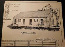 "Vintage 1940s Blueprint ""Concrete Masonry Straw Loft Poultry House"""
