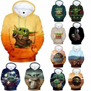 Mandalorian Baby Yoda Mens Womens Kids 3D Hooded Hoodies Sweatshirt Jumper Tops