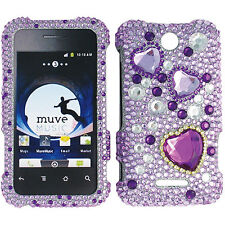PURPLE HEARTS DIAMOND BLING FACEPLATE HARD CASE COVER FOR ZTE SCORE M/X500 M