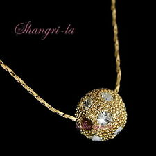 18K 18CT Gold Plated Womens Ball Charm Necklace Clear Swarovski Crystals L145