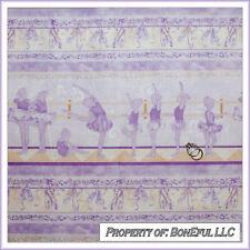 BonEful Fabric FQ Cotton GIRL Purple White Gold Stripe Dress Ballet Dance Shoes