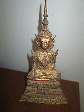 THAI  BRONZ  MIXED MATERIALS  SEATED  BUDDHA   1900  CENTURY  .