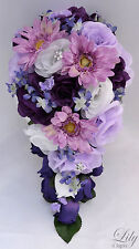 17pcs Wedding Bridal Bouquet Decoration Package Flower LAVENDER PURPLE Cascade