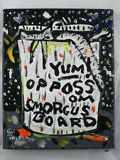 """OPPOSSOM SMORGASBORD"" fun original Folk Art painting Mike Creech"