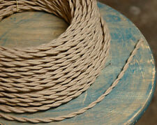 Tan Twisted Cloth Covered Wire, Beige Vintage Style Braided Cord, Antique Lamps