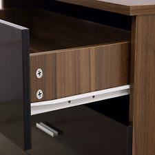 2 Drawer Bedside Table REFLECT in Gloss Black / Walnut - Bedroom Cabinet