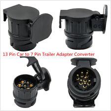 Black 13 Pin Socket Euro Car To 7 Pin Trailer Adapter Converter Caravan Tow Bar