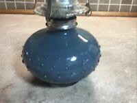 "Antique/Vintage Lamplight Farms Light Blue Glass Kerosene/Oil  Lamp Base 6"""