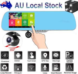 "1080P GPS Android Car Rear View Kit 5"" Mirror Monitor + Reverse Parking Camera"