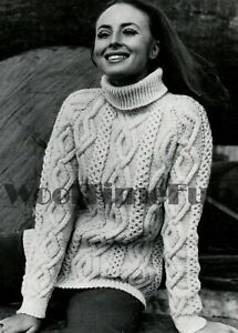 Knitting Pattern Ladies Classic Aran/Cable Polo Or Crew Neck Sweater/Jumper.