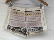 BCBG MAX AZRIA Womens Trey Cream Lilac Basket Weave Shorts - Size 0/XXS
