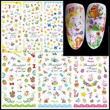 Adesivi unghie coniglietti uova EASTER PASQUA tattoo decals nail art 3D Stickers