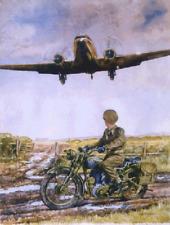 BSA WD M20 and Douglas Dakota 'Final Approach' limited print by Roy Barrett