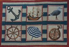 Tapestry Placemat~Nautical~Sailboat~Beach Umbrella~Seagull~Ship Anchor~Ocean~NEW