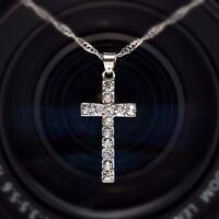 Halskette Collier Kette Kreuz Anhänger Zirkonia 925 Silber pl. Geschenkidee !!!