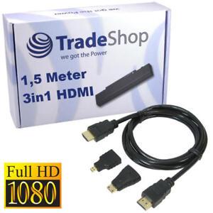 3in1 Set HDMI Kabel mit Mini Micro Adapter für Archos 101 Childpad Copper G9