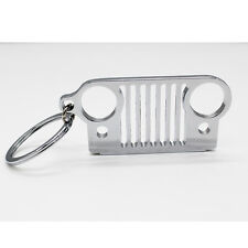 1 x Travel Kit Stainless Steel Jeep Grill Grille Key Chain Key Ring Silver JK TJ