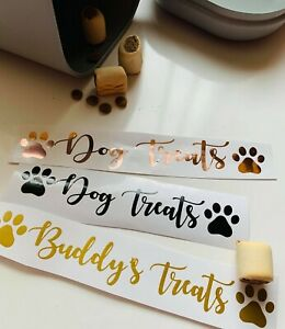 Dog Cat Pet Treats Name Vinyl Decal Sticker vinyl Label box tub storage