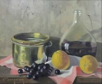 Eugène Jean Marie Bergeron (?-1896) Still Life the Lemons Hst Beautiful Frame
