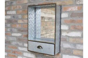 Industrial Style Mirrored Single Drawer - Bathroom Vanity Unit
