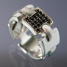 Size 10 Mens En Vogue Black Spinel Link Eternity Band Sterling Silver Ring 9.3g