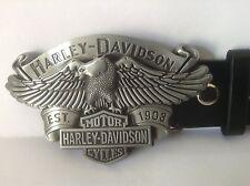 """Harley Davidson Buckle & Belt (All Sizes 30"""" – 50"""") Silver Eagle Design"""