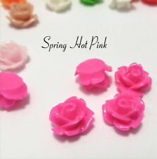 10mm Roses x 20 Resin Flower Cabochons Spring Hot Pink