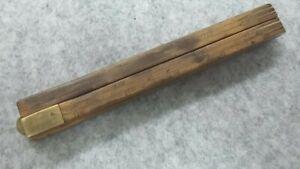 """4 Fold 24"""" Wooden Measure QT GALLS CYLINDER BOTTLES BOUGE J.Long Antique"""