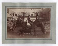 PHOTO ANCIENNE Cheval de course Cavalier Profil Équitation Vers 1900 Hippisme