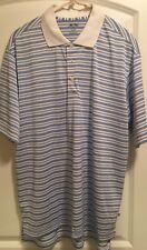 🏌Mens Adidas Golf Shirt White/Blue Stripes Medium 100% Polyester ⛳️