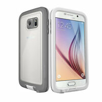 For Samsung Galaxy S6 Waterproof Shockproof Hard Shell Case Cover - White / Gray