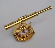 Vintage brass nautical marine alidade telescope w/ compass navigation tool item