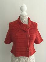 Anthropologie Moth Cropped Orange Wool Sweater sz Medium