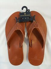 BROOKS BROTHERS Size 10 Men's Chestnut 100% Smooth Leather Flip Flop - New w/Tag
