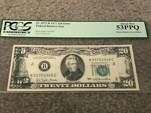 $20 Currency 1977 Federal Reserve Note Error Partial Back To Face Offset & Shift