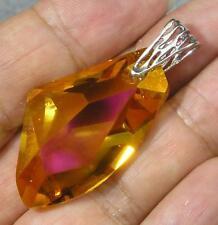 Avilagems Large Swarovski Crystal Gold Astral Pink .925 Sterling Silver Pendant