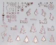 Christmas Rose Gold Metallic Snowflakes Xmas Tree 3D Nail Art Stickers Decal