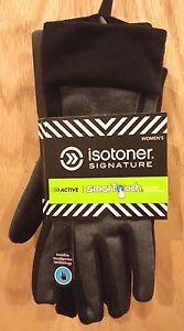 Isotoner  Women's Active Smartouch Black/Gray Heathered Softshell Glove w/Fleece
