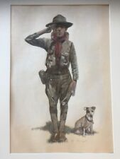 Original PAINTING ILLUSTRATION Boy Scouts Listed Stephen Heigh