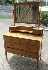 """Vintage Antique """"IMPERIAL"""" DRESSER DRAWERS-w/MIRROR Wood Wheels/Casters PICK-UP"""