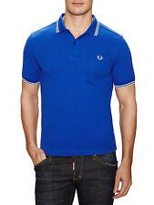 FRED PERRY Twin Tipped Piqué Polo Shirt M Regal Blue Ecru/Sky Tip Slim Fit *NWT*