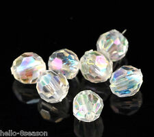 500PCs Hello Clear AB Color Round Faceted Acrylic Crystal Spacer Beads