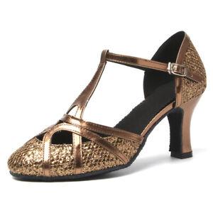 Latin Dance Shoes Women Girls Ladies Ballroom Tango Shoes Soft Indoor 4.5cm Heel